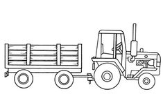Tractor drawing for coloring field. Children's drawings