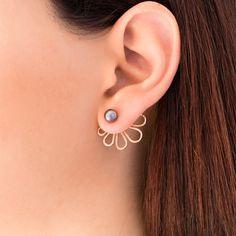 Les boucles d'oreilles oreille or rose veste double par emmanuelaGR
