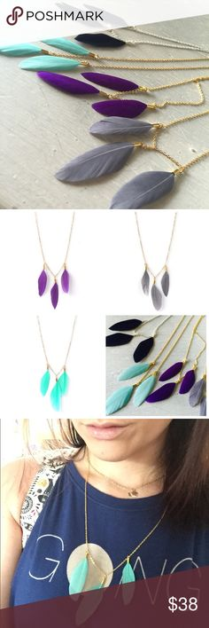 """Cute Triple Feather Necklace Cute, light necklace with three real feathers. Available in 4 different colors:  • Black Feathers w/ Silver Chain • Purple Feathers w/ Gold Chain • Turquoise Feathers w/ Gold Chain • Grey Feathers w/ Gold chain One necklace available in each color.   All 4 necklaces are brand new with no flaws. Chain is very light. The full necklace- from clasp to tip of feather is 28"""" long. Just the chain is 24"""" long. Happy to answer any questions!   **I did not make these…"""