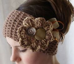 The Crafty Novice: Simple Crochet Ear Warmer LOVE the buttons and ribbons!!