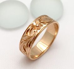 Traditional Hawaiian Hand Engraved 14k Gold Ring (6mm width, Flat Style)