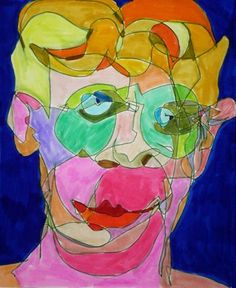 'Left Handed Blind Contour With Right Handed Sighted Colors' magic marker self-portrait drawing by San Francisco Bay Area artist Julia Kay. (Click to view same image larger.)