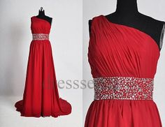Custom One Shoulder Red Beaded Prom Dresses Long Evening Gown Party Dresses Wedding Party Dress Bridesmaid Dresses 2014 Dress Party Red Bridesmaid Dresses, Wedding Party Dresses, Dress Party, Bridesmaids, Dance Dresses, Prom Dresses, Formal Dresses, Dresses 2014, Beaded Prom Dress
