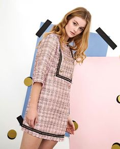 Opt for this tweed mini with a studded bib and hem — because pink is always a good idea. Featuring half-sleeves and gold buttons Fabric Composition: Po. Preppy Outfits, Girly Outfits, Preppy Style, Summer Outfits, Tweed Outfit, Tweed Dress, Wool Dress, High Street Fashion, Retro