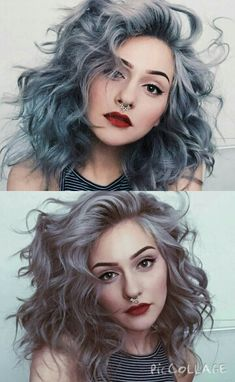 Greyish blue hair hopefully getting this exact color friday