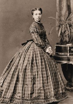 Silk windowpane c. 1860s  I love checks and plaid on giant dresses almost as much as Mark loves orange.