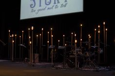 Beacon Poles - Church Stage Design Ideas - Scenic sets and stage design ideas from churches around the globe. Wedding Stage Design, Church Stage Design, Edison Lighting, Stage Lighting, Worship Night, Christmas Stage, All Of The Lights, Stage Decorations, Light Of The World