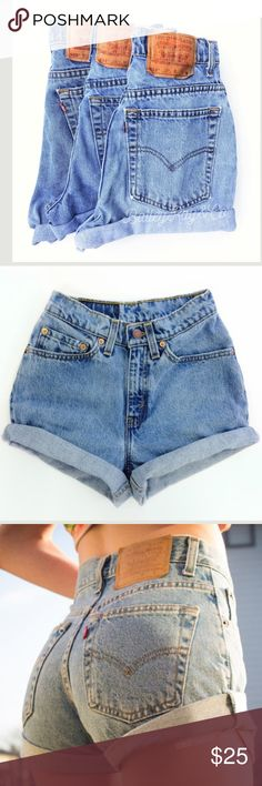 INTERESTED IN VINTAGE SHORTS? Last summer I cut my own shorts out of men's jeans. Since then I have gotten so many compliments on my shorts. They are super high waisted. If anyone is interested in having a pair like mine then comment down below! Give me your waist size in inches and I will make you a pair of high waisted denim shorts! You will be able to see pics of them before you purchase. Not all will be Levi's. Just jeans I can find but there still cute! Levi's Shorts Jean Shorts