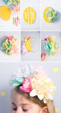 {Confetti Sunshine}  DIY tissue paper flower headband