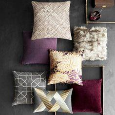 Moorish Tile Embroidered Velvet Pillow Cover, Drizzle/Silver | Williams-Sonoma