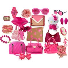 pink accessories summer 2012, created by twinklepowder on Polyvore