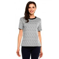 Womens O-Neck Short Sleeve Wave Pattern Casual T-Shirt Top
