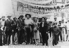 Frida Kahlo & Diego Rivera artist march on May Day, Mexico City, May 1, 1929