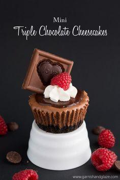 Mini Triple Chocolate Cheesecakes- The perfect rich chocolate Valentine's Day treat | Garnish & Glaze