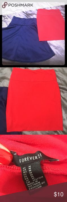 Two Skirts! Two skirts, navy one is NWOT will look amazing with heels and a white tank. Red is from Forever 21 gently used, selling both for 10!! Skirts Mini