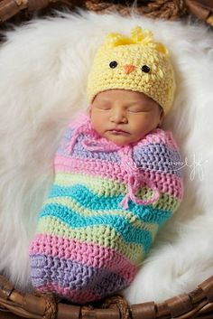 Ravelry: Easter Chick Snuggle Sack Set pattern by Queenie Leanie Designs