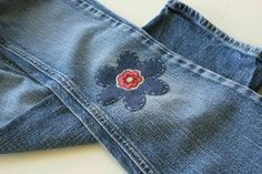 Knee patches - a lost art. My Mother patched jeans for my boys (not with flowers).