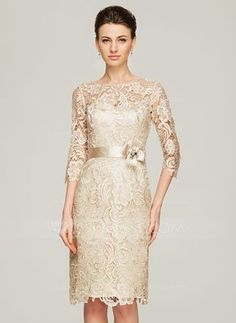 Sheath/Column Scoop Neck Knee-Length Charmeuse Lace Mother of the Bride Dress With Beading Flower(s) (008062563) - JJsHouse