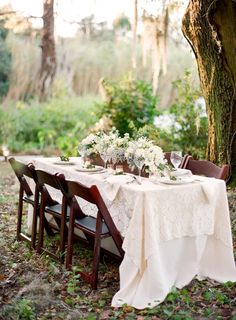 White tablecloth with lace overlay