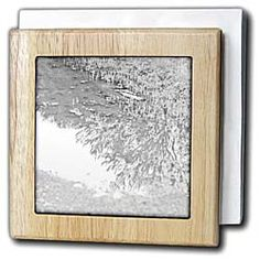 A reflection in a puddle of a tree in black and white Tile Napkin Holder