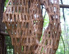 2009 permanent sculpture installation at Port Angeles Fine Arts Center, WA by Gerry Stecca from the on going wooden clothespins series
