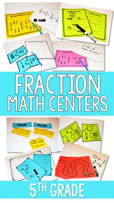 Do you need an engaging variety of fraction math centers for 5th grade? This resource includes over 20 math centers for fractions. Puzzles, games, task cards and more. Click to check it out.