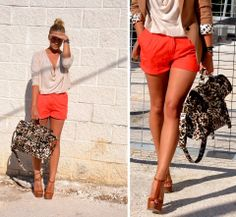 Cream Cowl-neck Top | Orange Shorts | Tan Blazer | Animal Print Bag