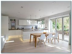 design ideas for kitchen diners modern extensions ideas pictures. open modern kitchen dining room modular design with white island Open Plan Kitchen Diner, Open Plan Kitchen Living Room, Kitchen Layout, Home Decor Kitchen, Kitchen Interior, New Kitchen, Kitchen Ideas, Kitchen Dining, Dining Room