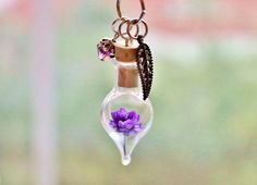 Amethyst Necklace Purple Flower Terrarium by teenytinyplanet