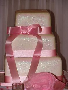 Pink Glitter Wedding Cake by Kim and Ashlee's Cakes & Cookies