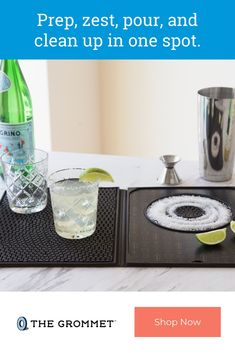 This cocktail bar mat gives your bartending duty a new sidekick. It's designed to make mixing up drinks an easier and more streamlined process. There's space to cut and zest garnishes, a recessed rimmer to add a finishing touch to drinks (like sugar or sa Great Gifts For Dad, Gifts For Him, How To Make Margaritas, Oven Glove, Cocktails, Drinks, Bartender, Prepping, Salt