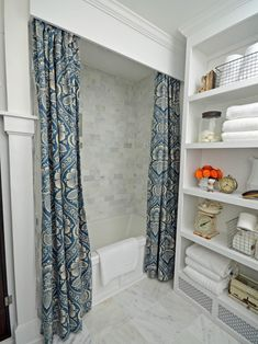 Tired of a ho-hum store-bought shower curtain? Try dressing your shower with custom draperies and a wood cornice fit for a picture window. Bathroom Window Dressing, Bathroom Window Curtains, Bathroom Windows, Diy Curtains, Wooden Cornice, Wood Valance, Shower Curtain With Valance, Boudoir, Window Cornices