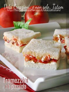 sandwich al pomodoro Easy Delicious Recipes, Easy Appetizer Recipes, Yummy Food, Cold Appetizers, Decadent Cakes, Salty Foods, Just Cooking, Snacks, Food Humor