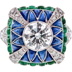 1STDIBS.COM Jewelry & Watches - Fine Old European Cut Diamond, Emerald... ❤ liked on Polyvore