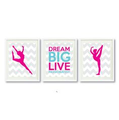Dream Big Live Passionately Series-Dance-8x10 Art Print Set of Three-Grey-Hot Pink-Aqua OR Choose Colors-Kids-Teen Girl Wall Art-Decor-3