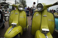 Classic cool: Lambretta has been popular with motorists for generations and was represented in full force at this weekend's festival - Isle of Wight 2013 Scooter Parts, Scooter Girl, Scooters, Scooter Custom, Weekend Festival, Lambretta Scooter, Italian Women, Bank Holiday Weekend, Isle Of Wight