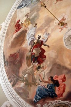 details of an amazing mural on the ceiling of the House Of Blackheads, Latvia