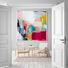Large wall art giclee print white pink geometric abstract