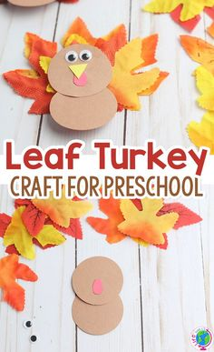 Easy Thanksgiving turkey leaf craft for preschoolers! Grab some fall leaves (real or fake) and some construction paper for a super simple Thanksgiving craft for preschool. You can use to decorate the kids' table at Thanksgiving, as a thankfulness craft or just for fun! Try this fun Fall craft today! #fall #thanksgiving #kidsactivities #kidscrafts #preschool #leaves