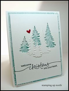 Welcome Christmas. (stamping up north) - - Since I seem to have left fall cards lately and moved onto Christmas cards.don't ask me why, I have no idea. fall seems like it just began.I made another for The Cutting Edge Challenge. Homemade Christmas Cards, Christmas Cards To Make, Homemade Cards, Christmas Crafts, Christmas Trees, Cricut Christmas Cards, Christmas Deco, White Christmas, Christmas 2017