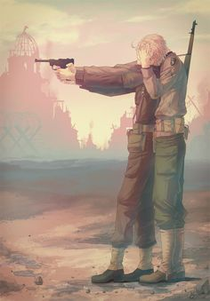 Hetalia- England and America. America is taking control of England's gun.