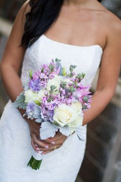 Julie Mikos Photography, lavender lisianthus, pink stock, Denise white roses, pink dahlias, Carmel by the Sea... bride