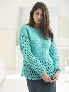 Myrtle Beach Pullover (Crochet) - Lion Brand Yarn