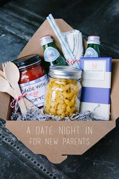 At Home Date Night Gift Basket - the perfect gift for new parents.