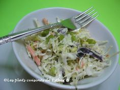 Les plats cuisinés de Esther B: Salade de chou crémeuse Esther, Cold Food, Cold Meals, Cabbage, Vegetables, Creamy Coleslaw, Collard Greens, Salads, Green Onions