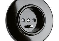 prise de courant THPG Bakélite noire ronde