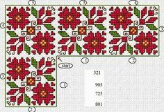 Cross Stitch Borders, Cross Stitch Flowers, Cross Stitch Charts, Cross Stitch Designs, Cross Stitching, Cross Stitch Patterns, Folk Embroidery, Cross Stitch Embroidery, Embroidery Patterns