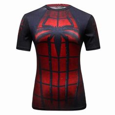 Femmes T-shirt Bodys Armure Marvel costume Captain America/superman/spiderman T-shirt Fille Fitness Collants