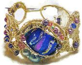 Wire and dichroic glass cuff bracelet
