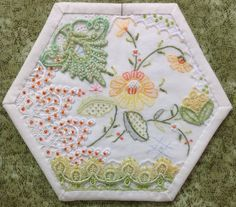 Completed block 30 hexagon by Dort. Crazy Quilt Stitches, Crazy Quilt Blocks, Patch Quilt, Applique Quilts, Crazy Quilting, Silk Ribbon Embroidery, Crewel Embroidery, Vintage Embroidery, Embroidery Patterns